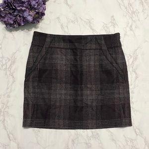 Ann Taylor LOFT purple gray plaid mini skirt 12